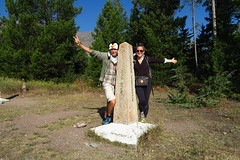 We made it! Spaceman and TraJiK at the northern terminus of the CDT at Waterton Lake.