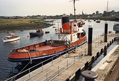"Tug Garnock on the museum pontoons - 1990s • <a style=""font-size:0.8em;"" href=""http://www.flickr.com/photos/46566419@N08/30557727800/"" target=""_blank"">View on Flickr</a>"
