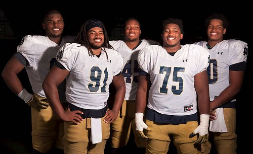 The ND defensive line might be smiling for our latest Irish Insider cover, but they'll be a fearsome force come Saturday vs. UMass