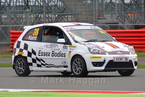 Lewis Kent in the BRSCC Fiesta Junior Championship at Silverstone, August 2015