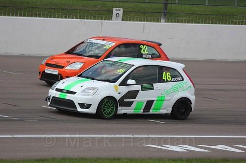 Ian Wilson and Jamie Going in Fiesta Racing at Rockingham, Sept 2015