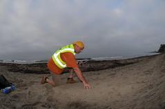 Sean sampling sand oil Summerland 08-22-15