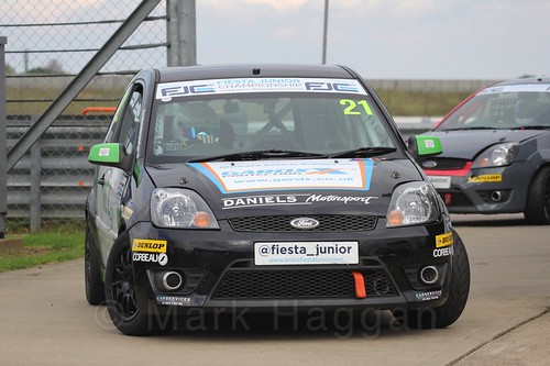 Nathan Edwards after Race 2, Fiesta Junior Championship, Rockingham, Sept 2015