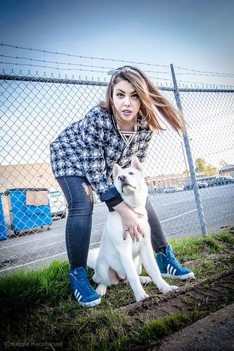 Jenis #color #photoshoot #model #female #tough #chick #badass #vancouver #bandanna #purple #lipstick #city #outdoor# #canada #nails #dog