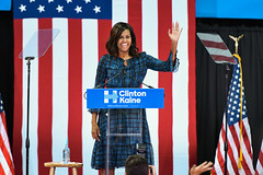 First Lady Michelle Obama speaks to students attending a rally at La Salle University for Democratic presidential candidate Hillary Clinton on September 28, 2016, Philadelphia (Photo by Yichuan Cao/NurPhoto)