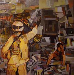 Questa diversa giusta guerra, tecnica mista su tela, 30×30, 2012