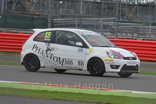 Sikander Hussain in the BRSCC Fiesta Junior Championship at Silverstone, August 2015