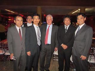 O vice presidente  Industrial da Usiminas Marcelo Chara e equipe da Nippon Steel Corporation