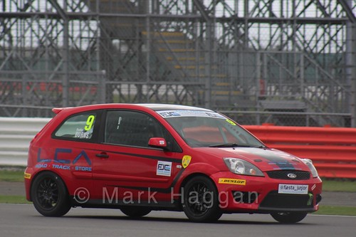 Bradley Burns in the BRSCC Fiesta Junior Championship at Silverstone, August 2015
