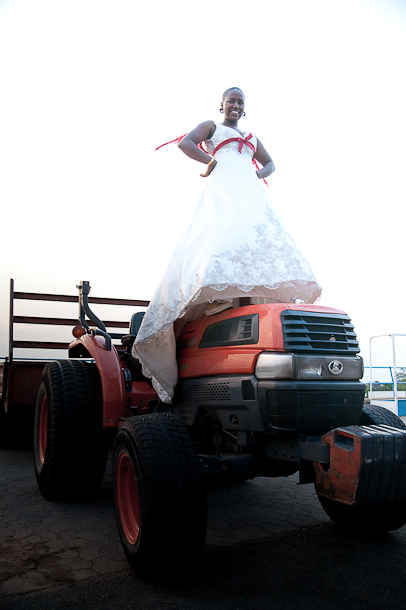 i actually climbed on top of this tractor in that dress!! *gasp!*