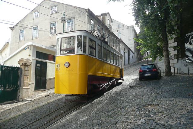 The Glória Funicular in Lisbon