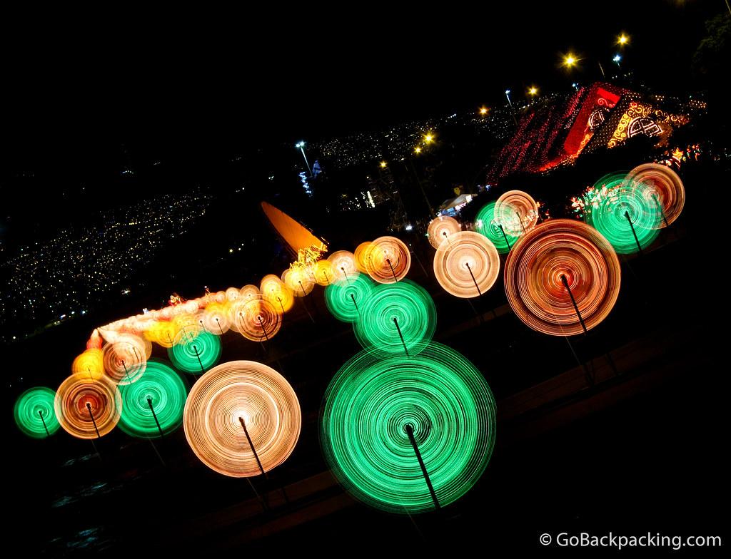 The spinning lights along Rio Medellin.