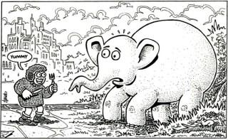 How do you eat and elephant?
