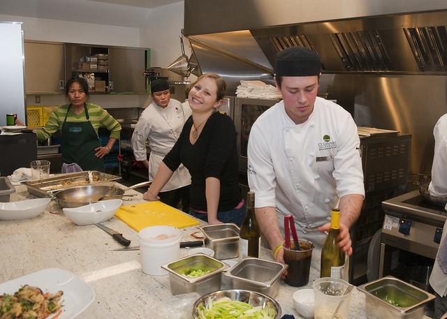Jennifer Hopper (Taylor Shellfish) beaming in kitchen