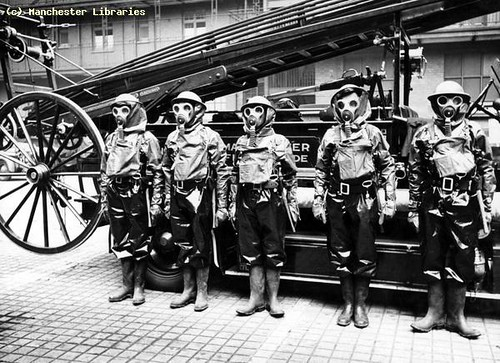 Manchester Fire Brigade Crew In Anti-Gas Clothing, 1941
