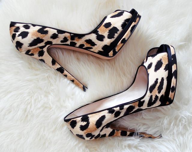 leopard print shoes on sheepskin