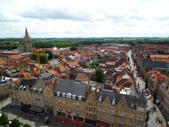 Views across Flanders Fields from the Cloth Hall bell tower - Ypres, Belgium