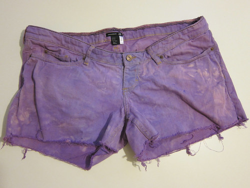 Sloppily Dyed Lavender Cutoffs