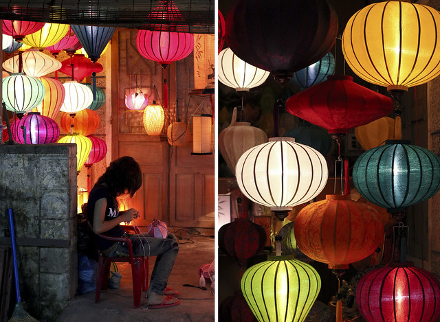 silk lanterns at night