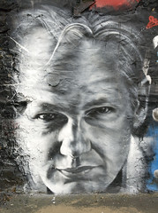 Julian ASSANGE arrested, painted portrait - Wikileaks
