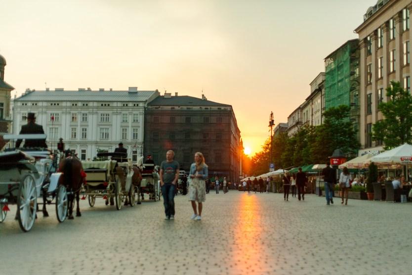Sunset, Main Square, Krakow, Poland