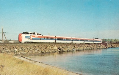 "AMTRAK0002 United Aircraft Turbo brings AMTRAK's ""Yankee Clipper"" through Stonington, CT on the old New Haven ""Shore Line"", November 8, 1974. (Ronald N. Johnson)"