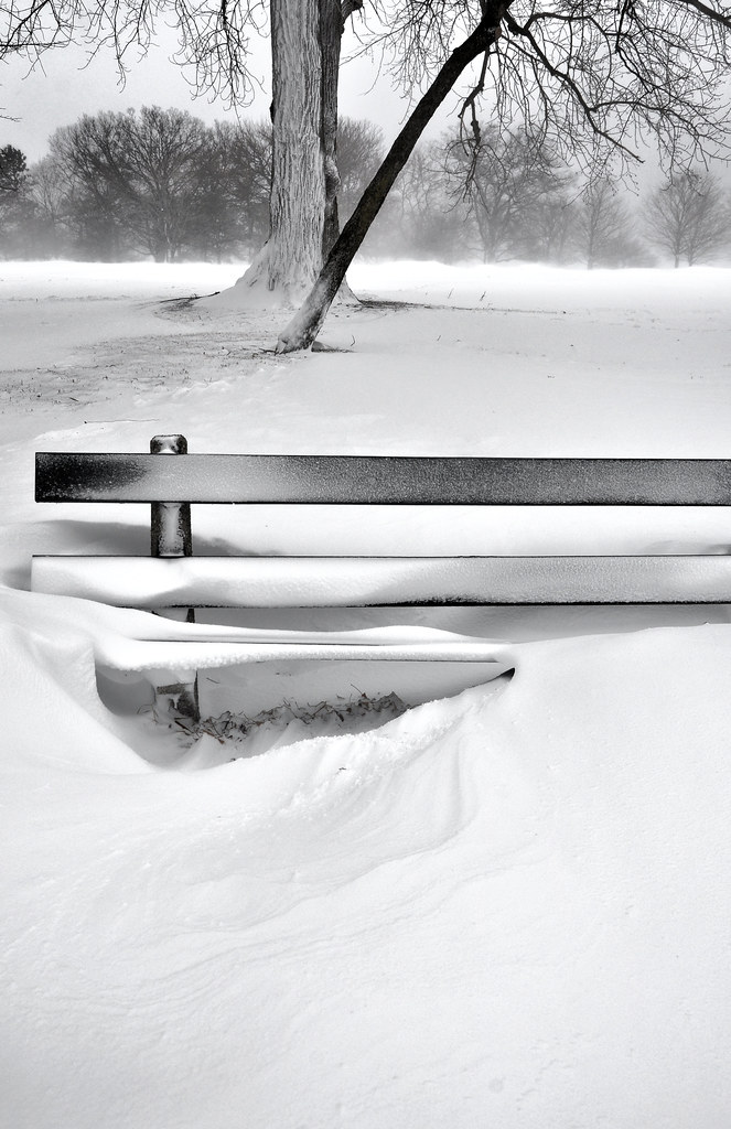 Snow-Covered Bench by Jim Watkins