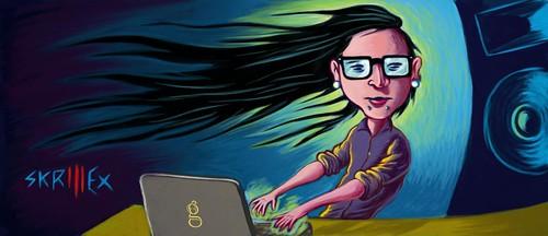 DJ Skrillex - caricature de Gilderic