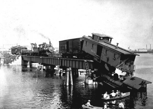 Train wreck on a bridge in Tampa