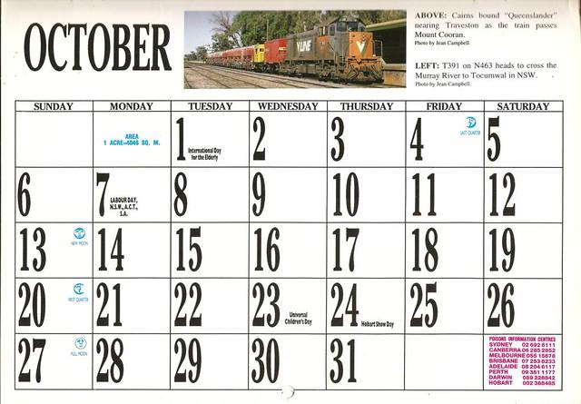 1996ATC0023 October Page 1996 Australian Trains Calendar