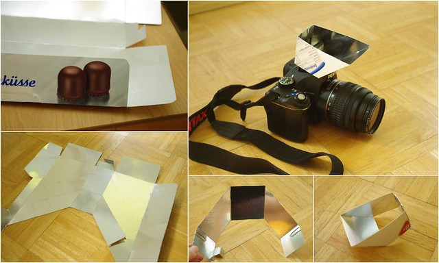 New: now with template! foldable recycled mirror popup flash bouncer