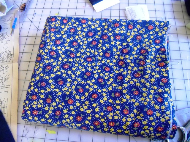 navy/yellow floral cotton/rayon