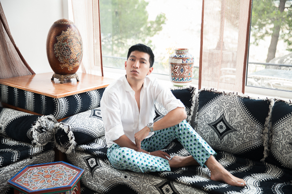 Bryanboy in a Hugo Boss white shirt and green Prada pants at Hotel Atlas, Chefchaouen, Morocco