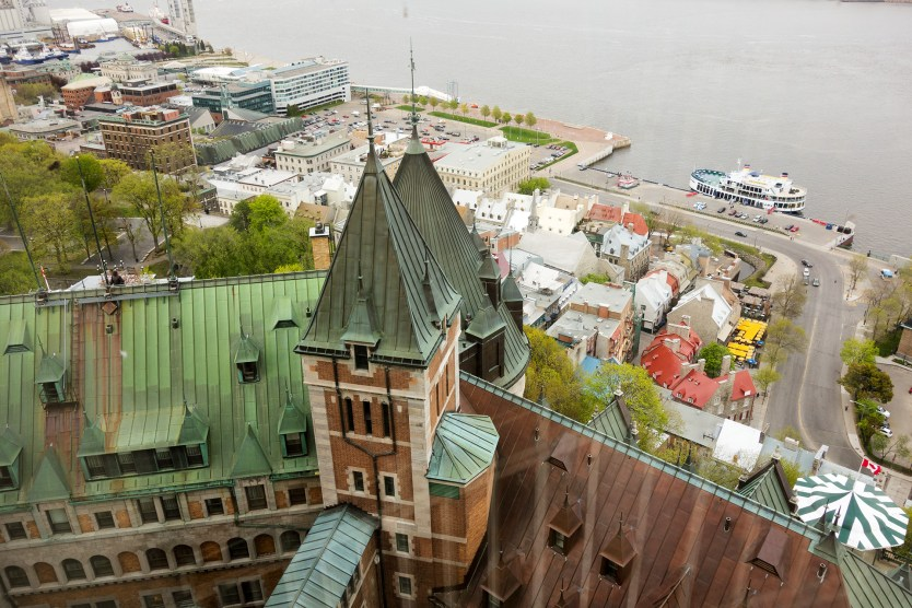 Looking out from the Fairmont Le Château Frontenac over Lower Town, Quebec City.