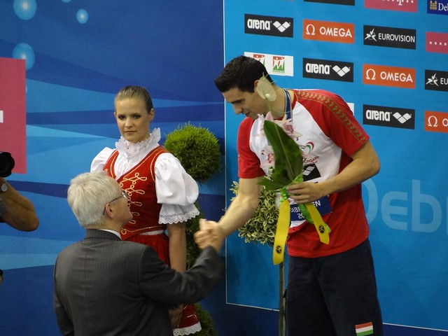 Kis Gergő being congratulated at Debrecen 2012
