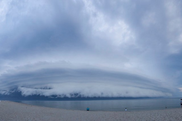 Panoramic of shelf cloud over Race Point Beach, Cape Cod, Massachusetts