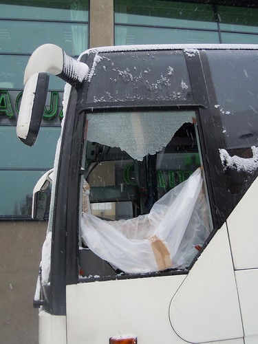 meanwhile, vandals broke into our bus