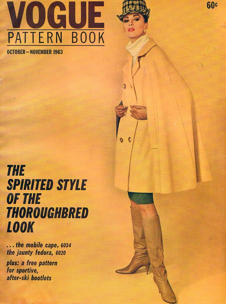 Wilhelmina Cooper models a yellow cape on the cover of Vogue Pattern Book, October/November 1963.