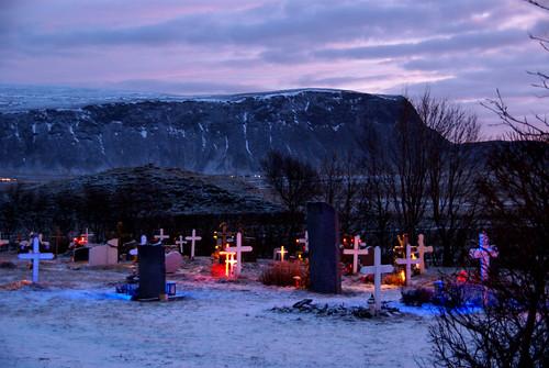 Kotstrandarkirkja Graveyard Lights by little_frank