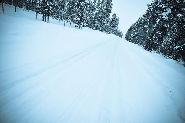 Empty white road