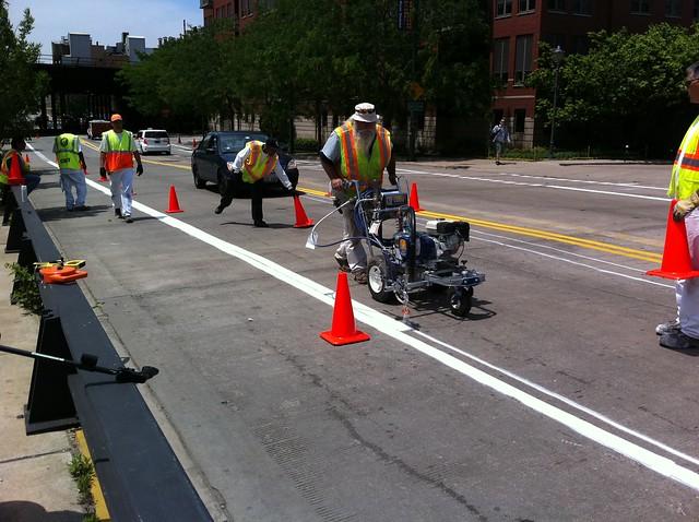 Painting eastbound bike lane stripes