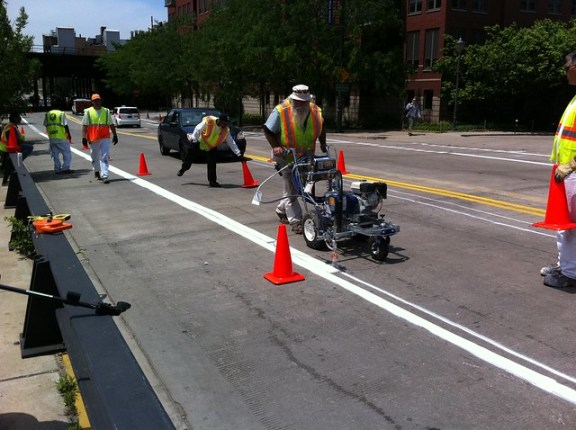 Painting eastbound bike lane stripes