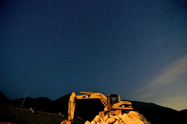 A Construction Site Under the Night Sky