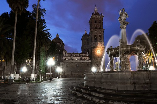 Puebla Zocalo at Night