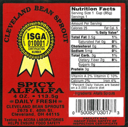 RECALLED Bean Sprouts