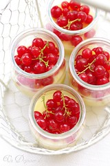 White chocolate and lemon cream with redcurrants