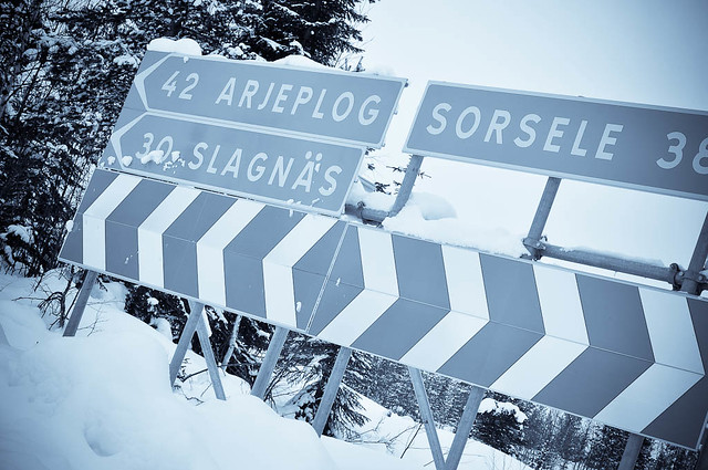 Rural road signs in Lapland