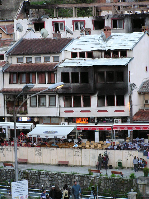 March 17, 2004 damage to Serbian village. Prizren, Kosovo