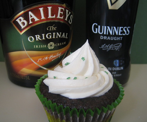 Guinness Stout Cupcakes With Whiskey Ganache And Bailey's Cream Cheese Icing