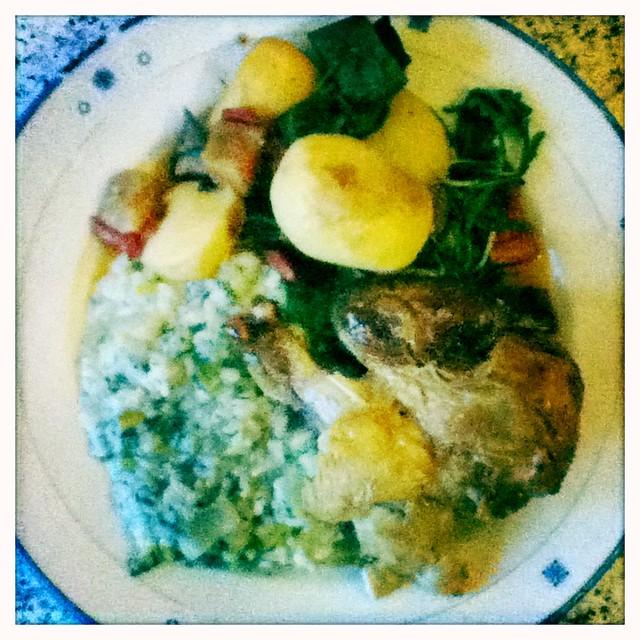 chicken, risotto, veggies